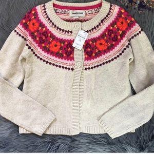 Land's End NWT Cardigan Sweater Girls Size Large